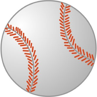 Clip Art Of A White Baseball With Red Stitching