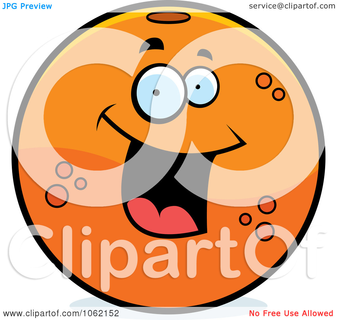 Clipart Happy Orange Character   Royalty Free Vector Illustration By