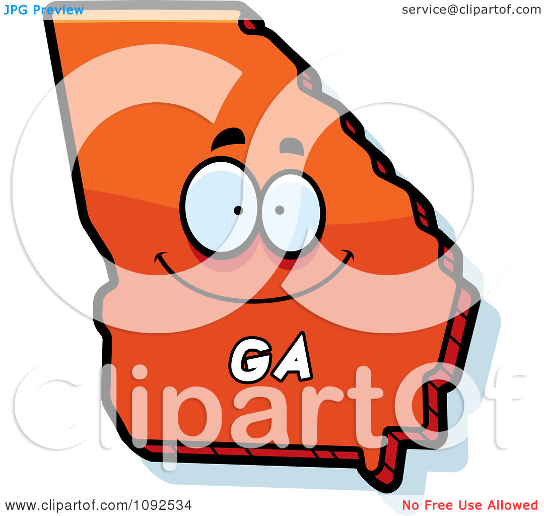 Clipart Happy Orange Georgia State Character   Royalty Free Vector