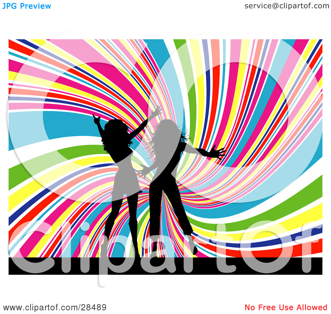 Clipart Illustration Of Two Black Silhouetted Women Dancing Together
