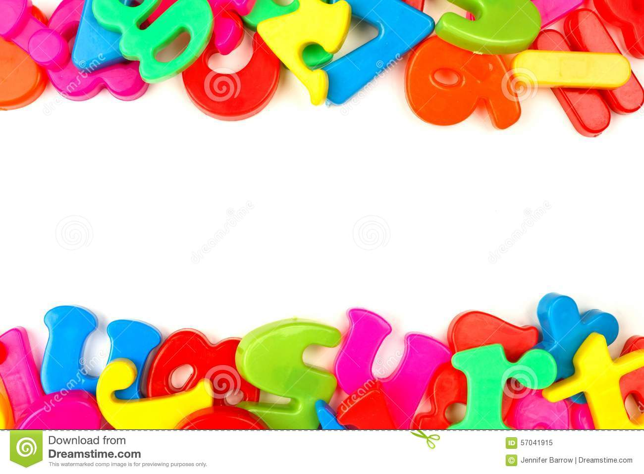 Double Border Of Colorful Toy Magnetic Letters And Numbers Over A