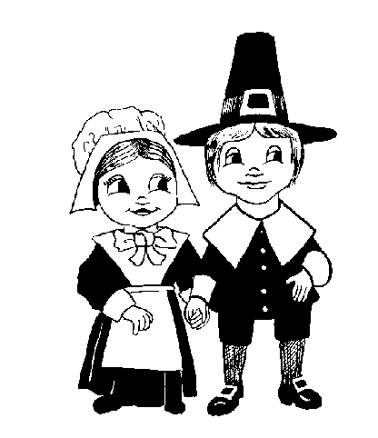 Free Clipart Of Pilgrim Black And White Clipart Of Two Small Pilgrim