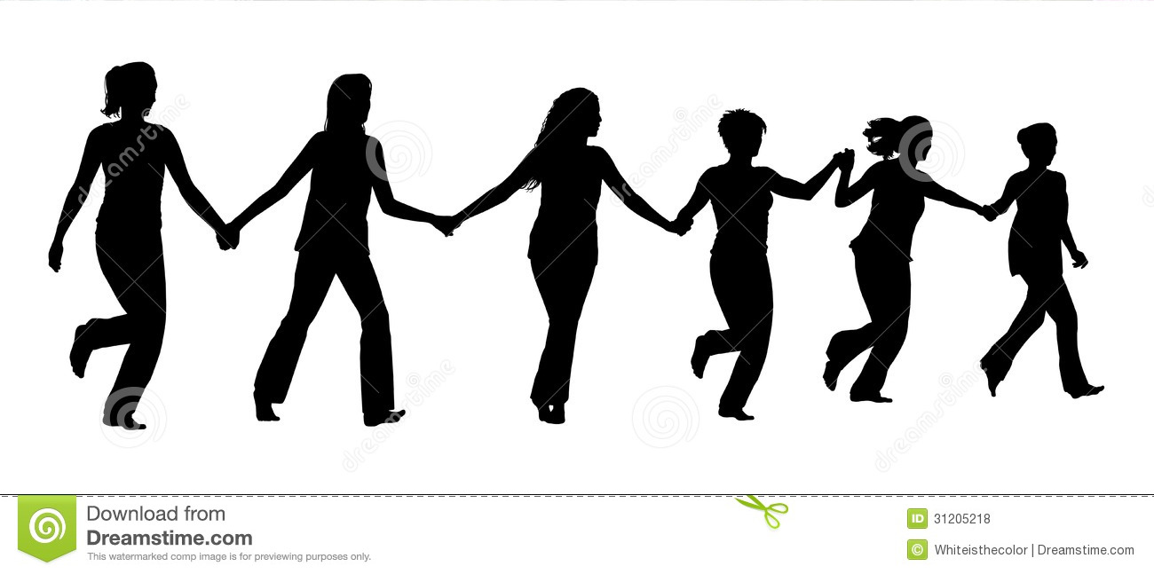 Group Of Women Holding Hands And Running Together Royalty Free Stock