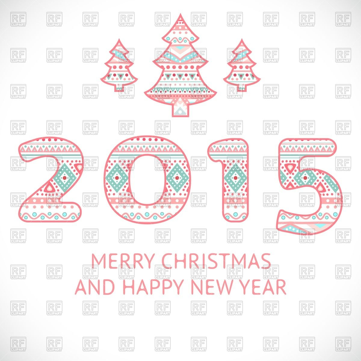 Happy New Year Greeting Card   Cute Numbers 2015 And Christmas Tree In