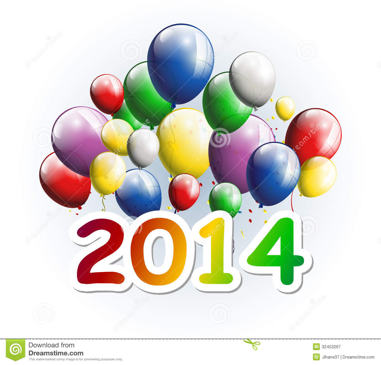 Illustration Of Happy New Year 2014 Greeting Card With Party Balloons