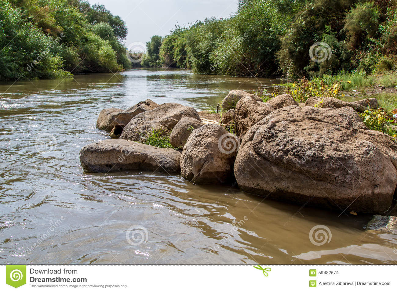 Jordan River In Autumn Boulders At The Edge Of The Shore  Upper