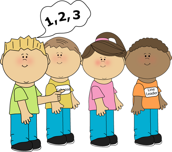 Line Counter Clip Art Image   Kids In A Line And A Boy Counting The