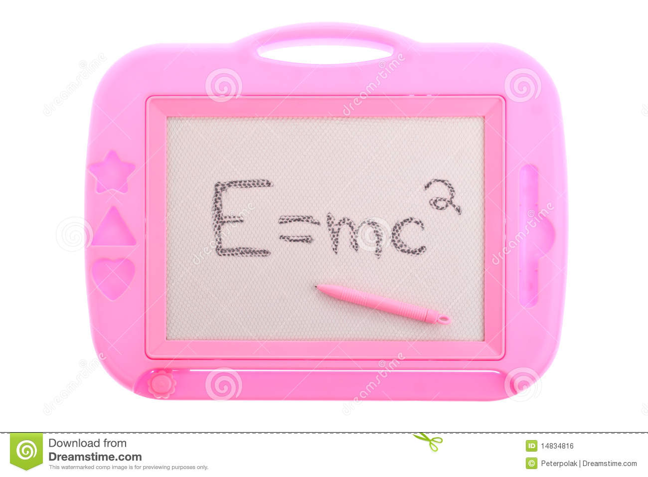 Mc2 Written On A Pink Child S Toy Magnetic Learning Board Isolated