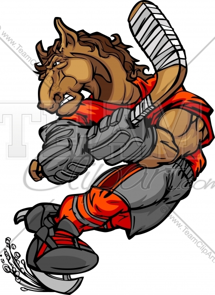 Mustang Hockey Clipart In An Easy To Edit Vector Format