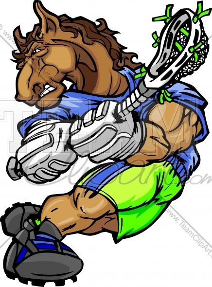 Mustang Lacrosse Clipart In An Easy To Edit Vector Format