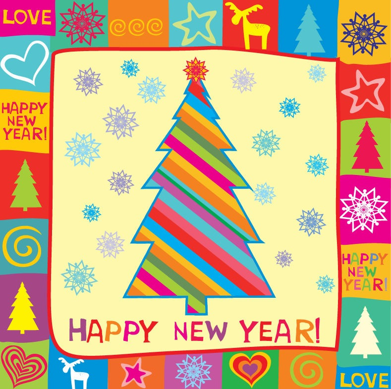 Name  Happy New Year Greeting Card Vector Illustration