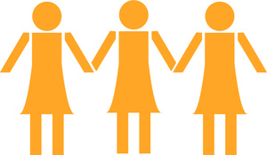 Women Clipart Image   Female Or Women Symbol With Three Women Standing