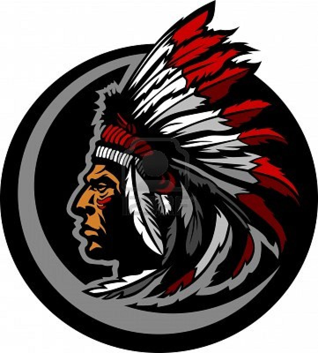 11375471 Graphic Native American Indian Chief Mascot With Headdress