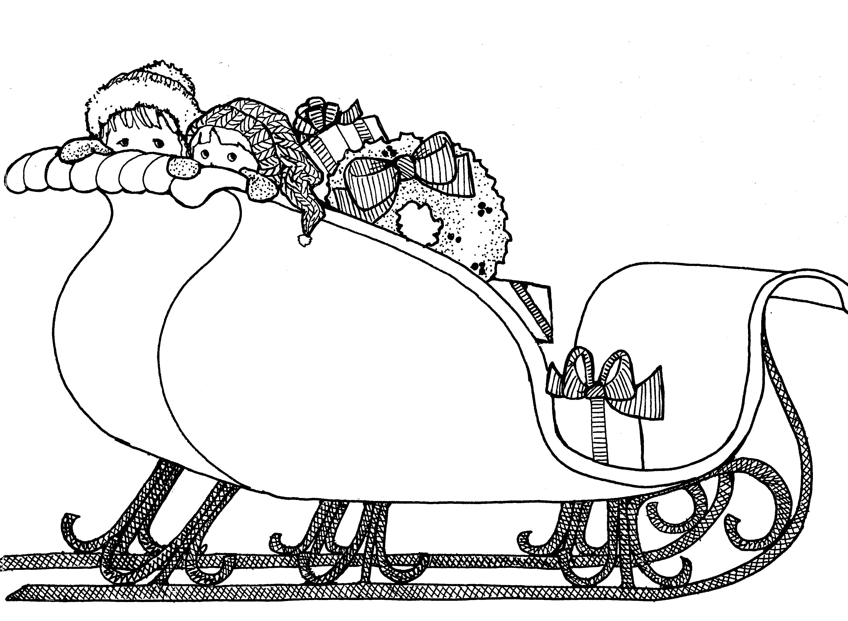 Santa Sleigh Black And White Clipart - Clipart Kid