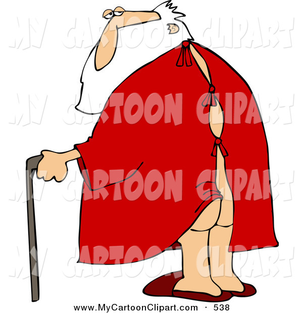 Art Of A Caucasian Santa Walking With Cane His Butt Showing Clipart