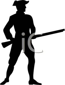 Clipart Image Of A Silhouette Of A Man Holding A Rifle