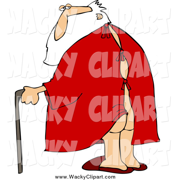 Clipart Of Santa In An Open Backed Hospital Gown Walking With A Cane