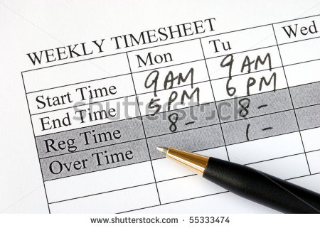 Filling The Weekly Time Sheet For Payroll Stock Photo 55333474