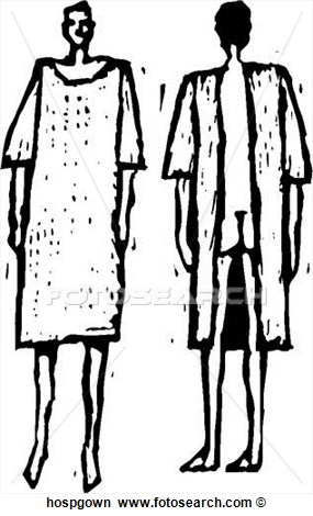Hospital Gown View Large Clip Art Graphic