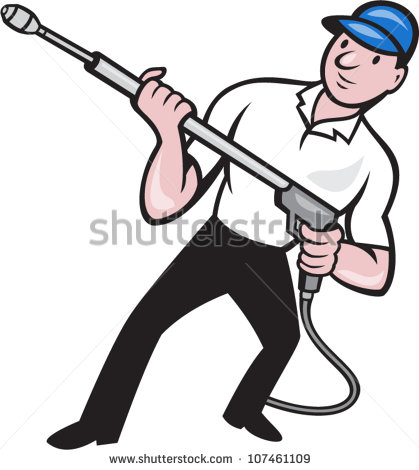 Illustration Of A Worker With Water Blaster Pressure Power Washing