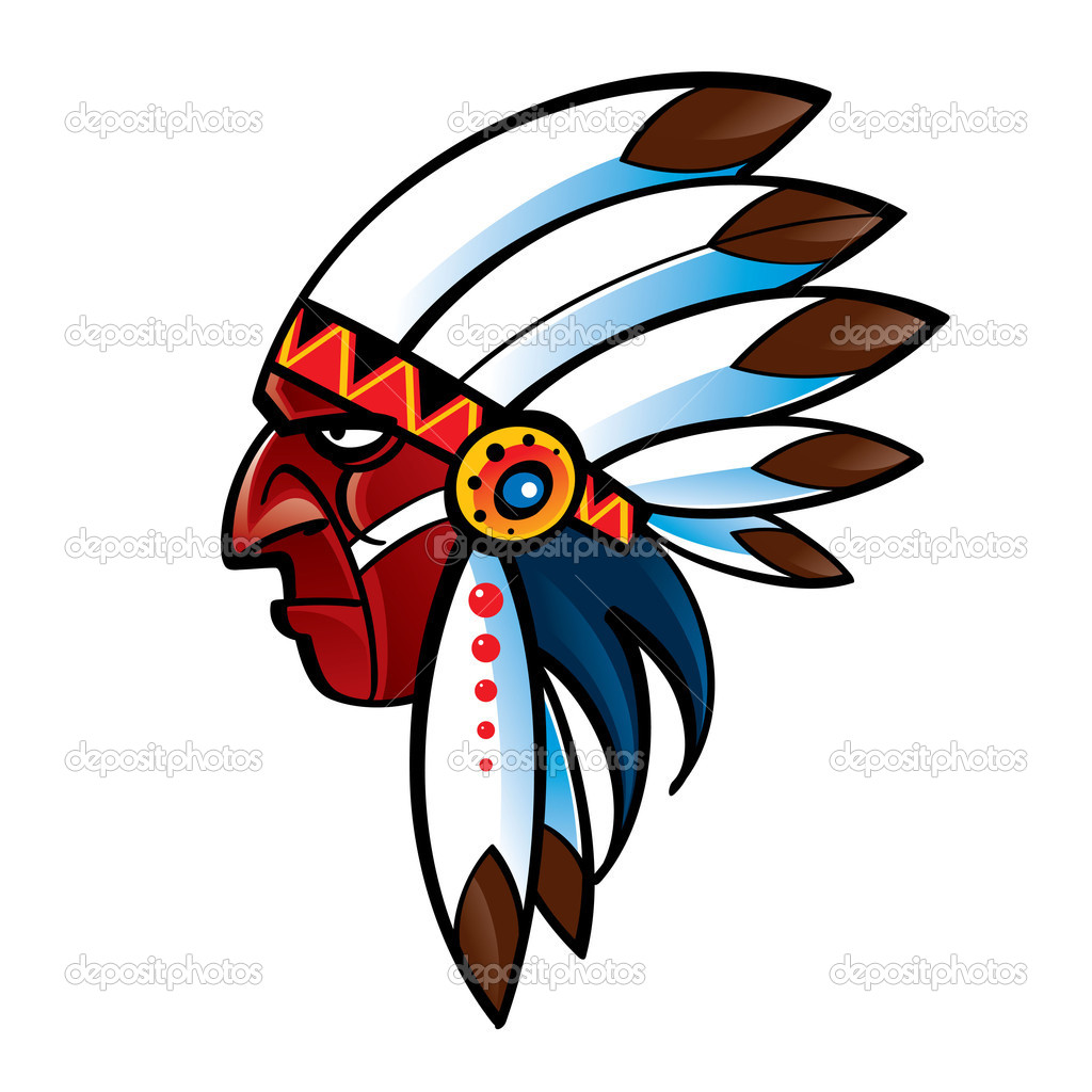 Portrait Of Red Skin Indian Chief American Native   Stock Vector