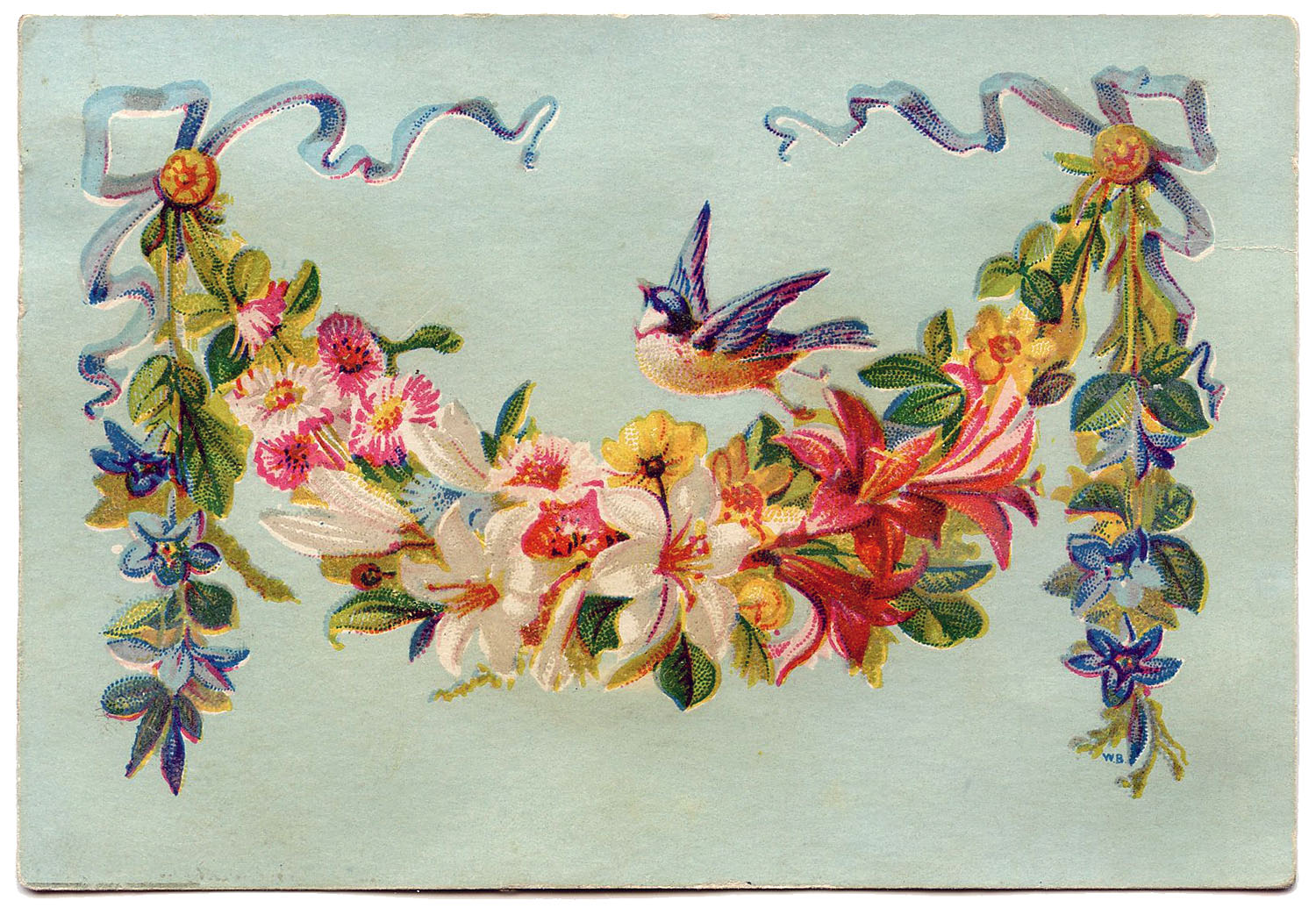 This Is A Pretty Little Card  Shown Above Is A Lovely Floral Garland