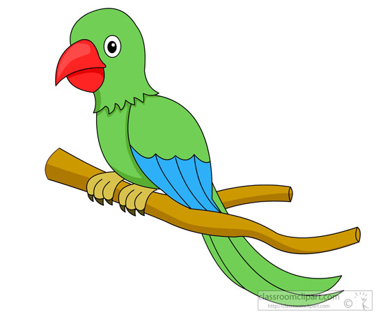 Bird Clipart   Green Parrot Red Beak On Tree Branch Clipart 58199