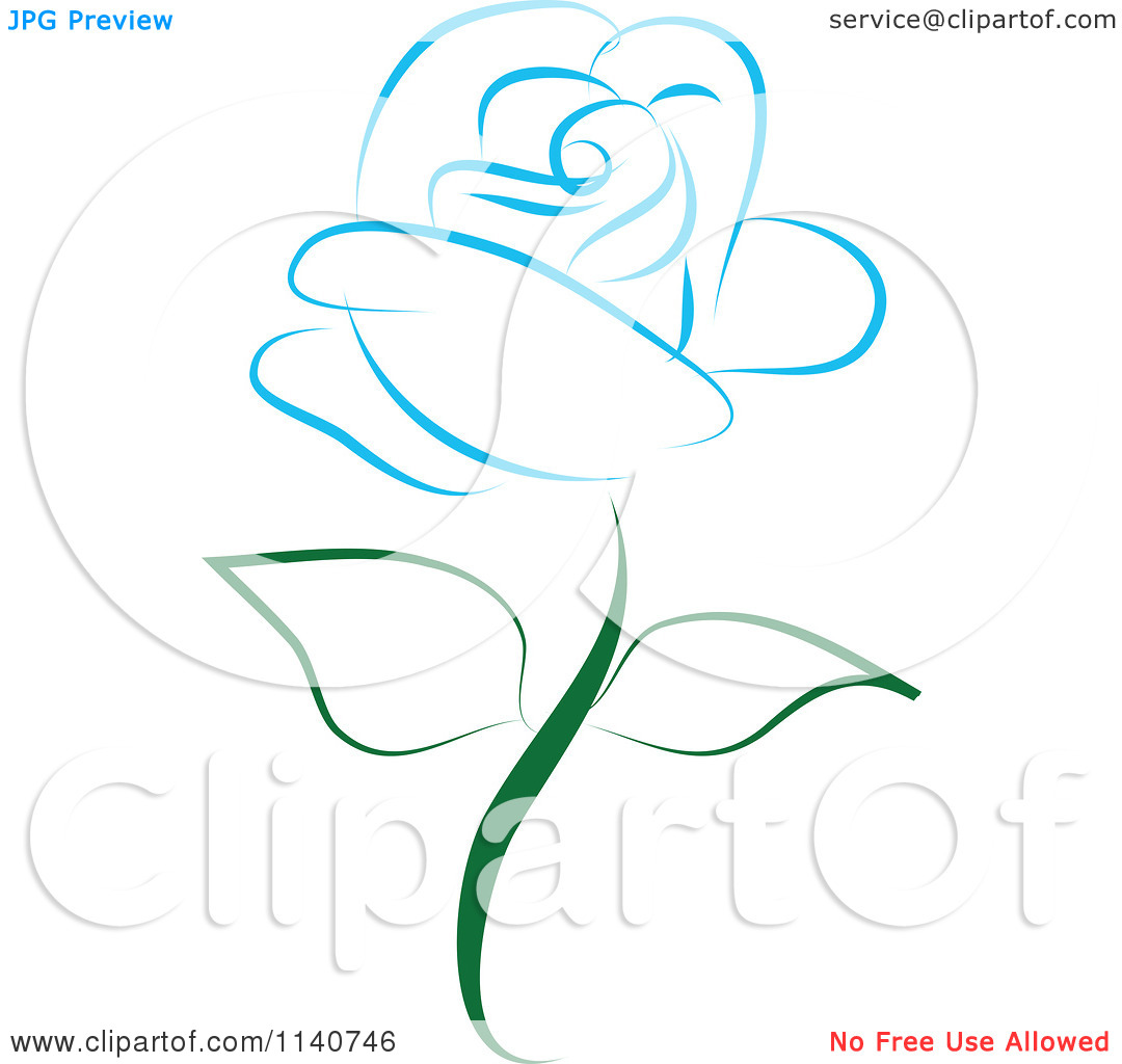 Clipart Of A Beautiful Single Blue Rose 2   Royalty Free Vector
