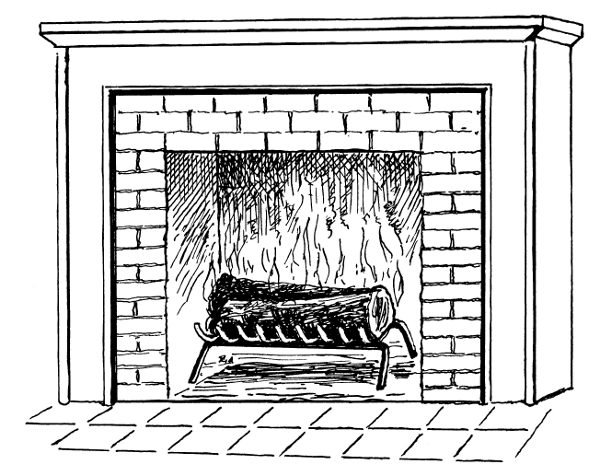 Fireplace With Fire Bw    Household Fireplace Fireplace With Fire Bw