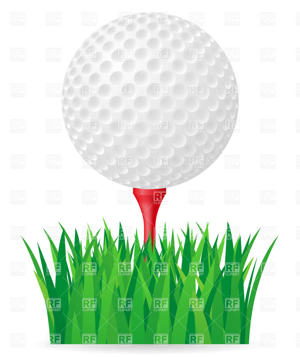 Golf Ball On Tee And Green Grass Download Royalty Free Vector Clipart