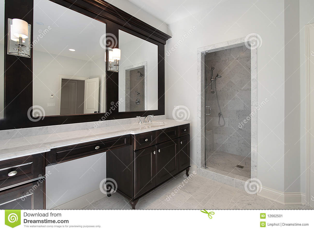 Master Bath In New Construction Home With Mahogany Cabinetry