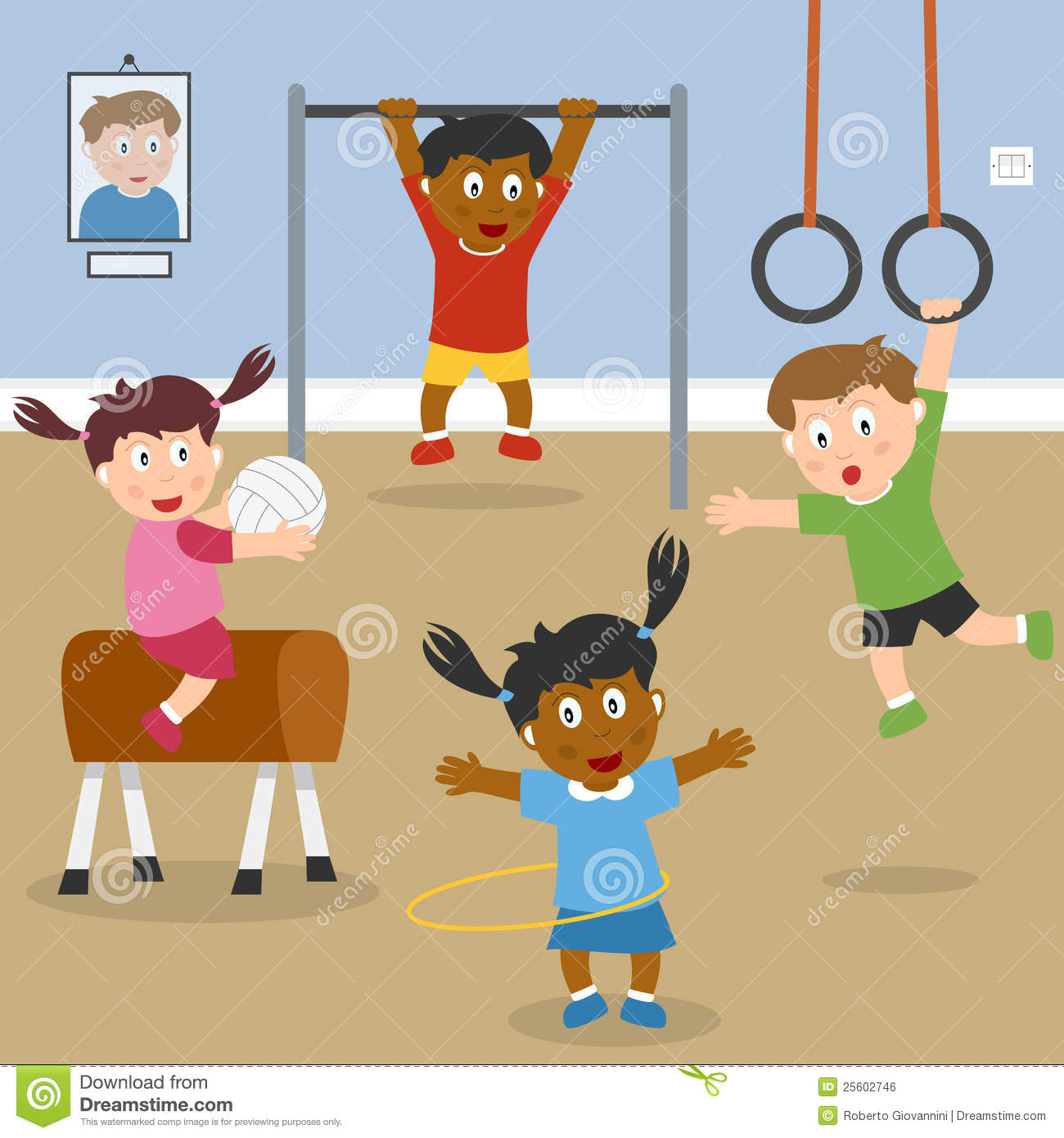 Of Multicultural Kids Playing In The School Gym  Eps File Available