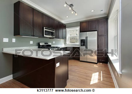 Picture   Kitchen With Mahogany Wood Cabinetry  Fotosearch   Search