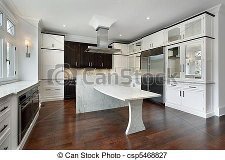 Picture Of Modern Kitchen With White Cabinetry And Granite Island