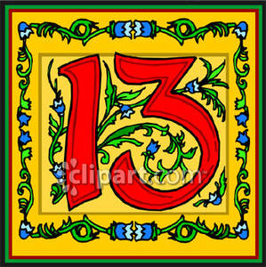 Red Number 13 With Flowers   Royalty Free Clipart Picture