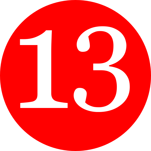 Red Roundedwith Number 13 Clip Art At Clker Com Vector Clip Art