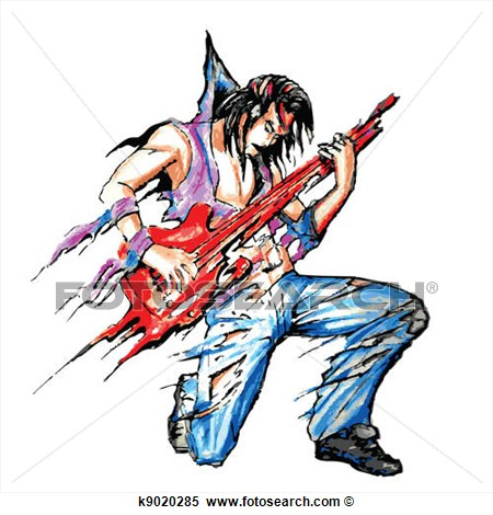 Rock Star With Guitar View Large Clip Art Graphic