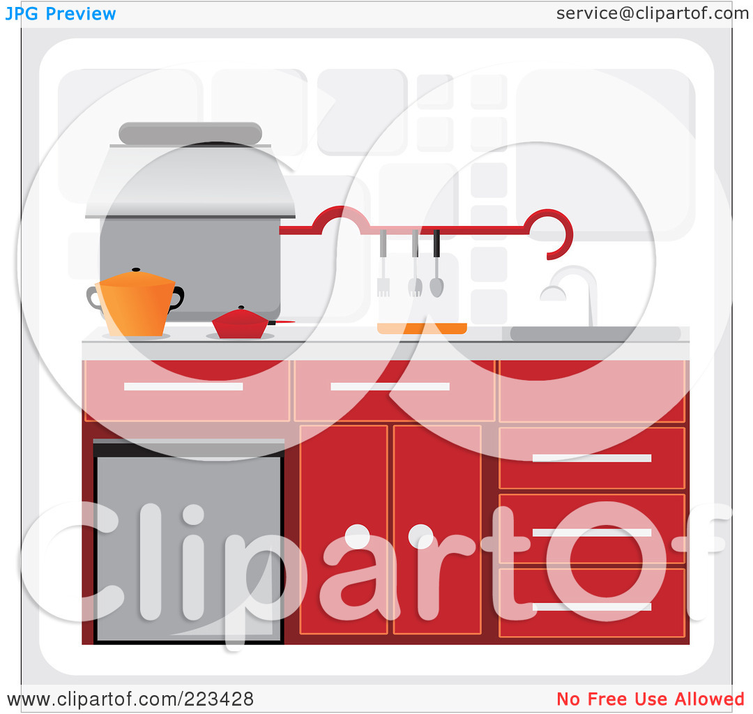 Royalty Free  Rf  Clipart Illustration Of A Kitchen With Red Cabinetry