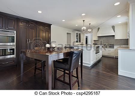 Stock Photo   Kitchen With Dark Wood Cabinetry   Stock Image Images