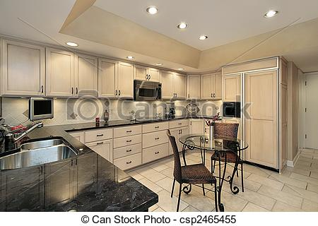 Stock Photo   Kitchen With Light Oak Cabinetry   Stock Image Images