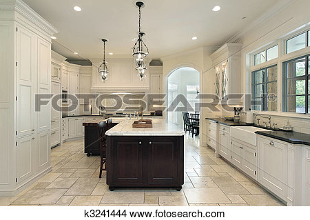 Stock Photo   Luxury Kitchen With White Cabinetry  Fotosearch   Search