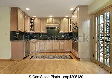 Stock Photography Of Kitchen With Oak Cabinetry   Kitchen In Remodeled