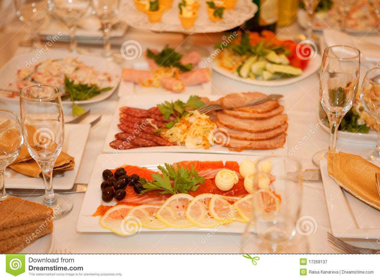 Banquet Table With Food Royalty Free Stock Photography   Image