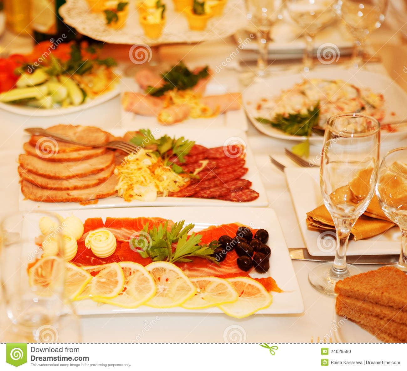 Banquet Table With Food Stock Photo   Image  24029590