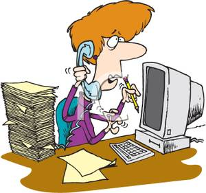 Busy Secretary On The Phone   Royalty Free Clipart Picture