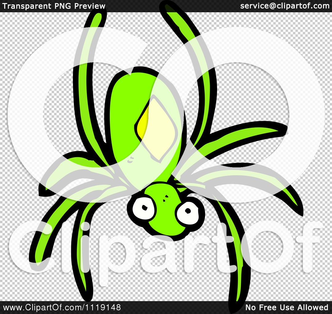 Cartoon Of A Green Spider   Royalty Free Vector Clipart By