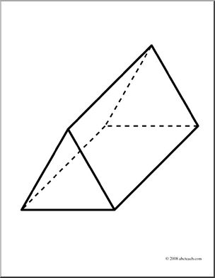 Clip Art  3d Solids  Triangular Prism  Coloring Page    Preview 1