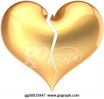 Clipart   Heart Shape Broken Colored Golden  Fall Out Of Love Glamour