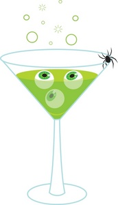 Drink Clipart Image   Spooky Green Martini With Black Widow Spider
