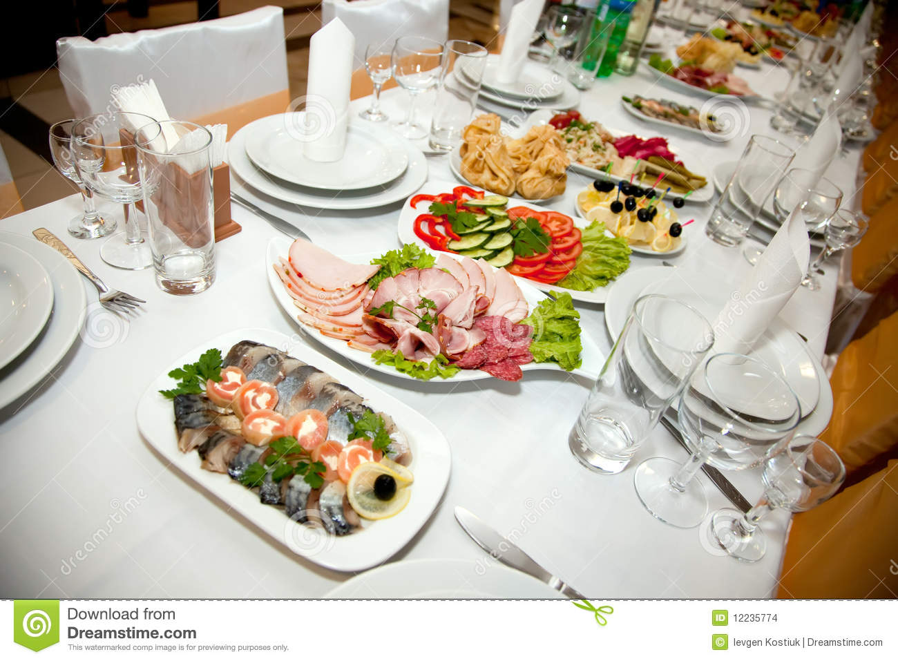Food At Banquet Table Stock Images   Image  12235774